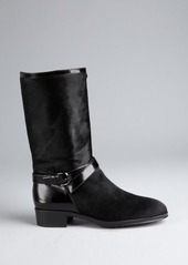 Tod's black calf hair and leather mid-calf boots