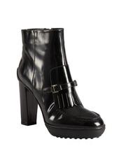 Tod's black leather fringed buckle strap platform ankle boots