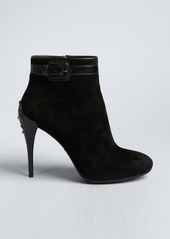 Tod's black suede leather trimmed buckle detail stiletto ankle boots
