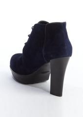 Tod's blue suede lace up platform heel oxfords