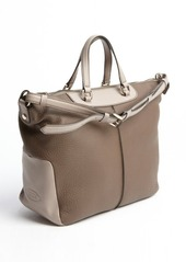 Tod's brown pebbled leather shoulder tote