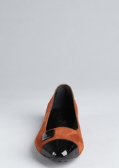 Tod's brown suede patent cap toe embellished ballet flats