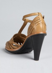 Tod's dark rope leather t-strap sandals