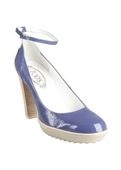 Tod's lilac patent leather ankle strap pumps