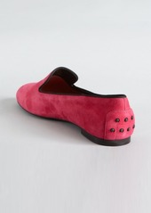 Tod's magenta and black suede grosgrain trimmed loafers