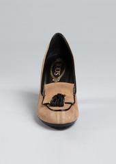 Tod's nutmeg suede tassel stacked heel loafers