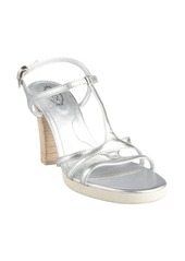 Tod's silver leather t-strap stacked heel 'Sophie Stripes' sandals