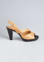 Tod's tan leather 'Chelsea' peep toe sandals