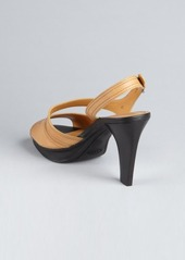 Tod's tan leather 'Chelsea' peep toe sandals