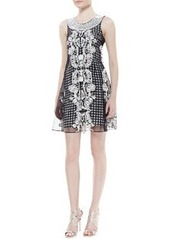 Tracy Reese Sleeveless Beaded Neck Trapeze Dress, Black/White