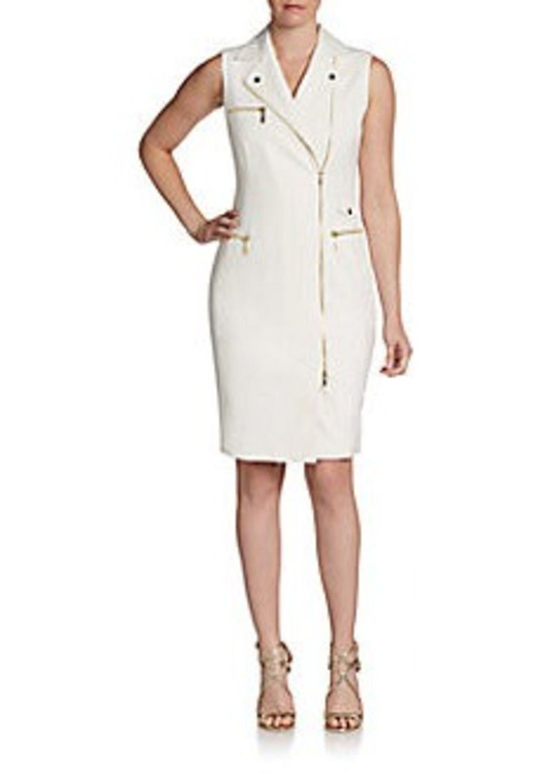 Calvin Klein Asymmetrical Moto Zip Sheath Dress