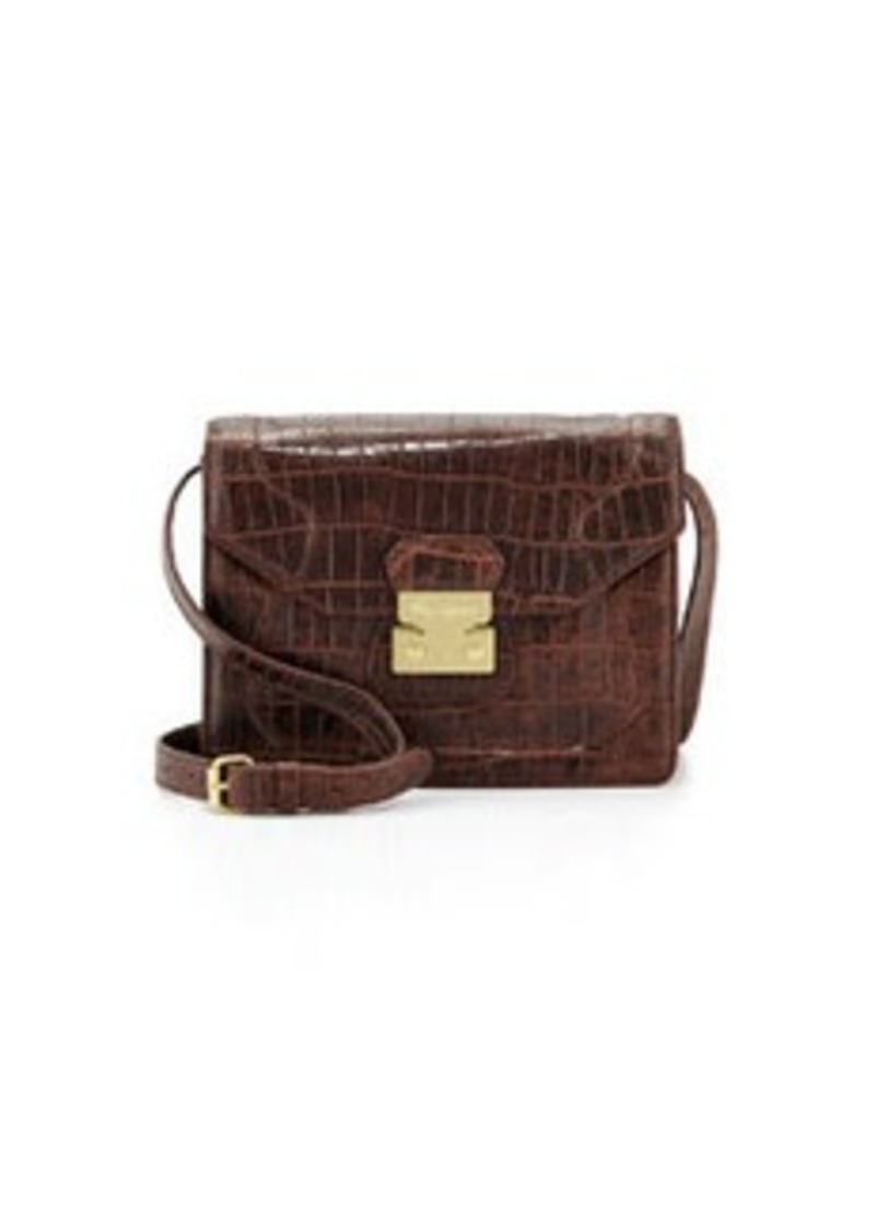 Foley + Corinna Attache Snake Embossed Leather Cross-Body Satchel, Brownie