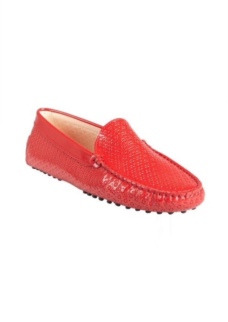 Tod's currant patent leather perforated loafers