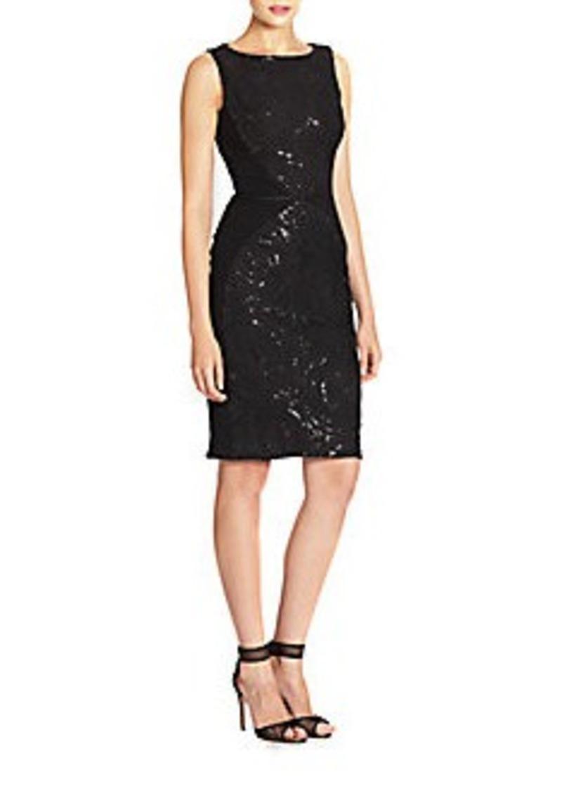 Carmen Marc Valvo Embellished Double-Face Dress
