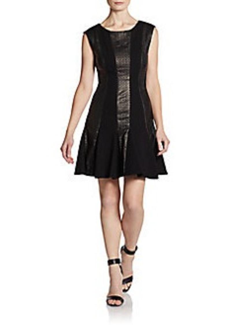 Catherine Malandrino Aisha Leather Panel Dress