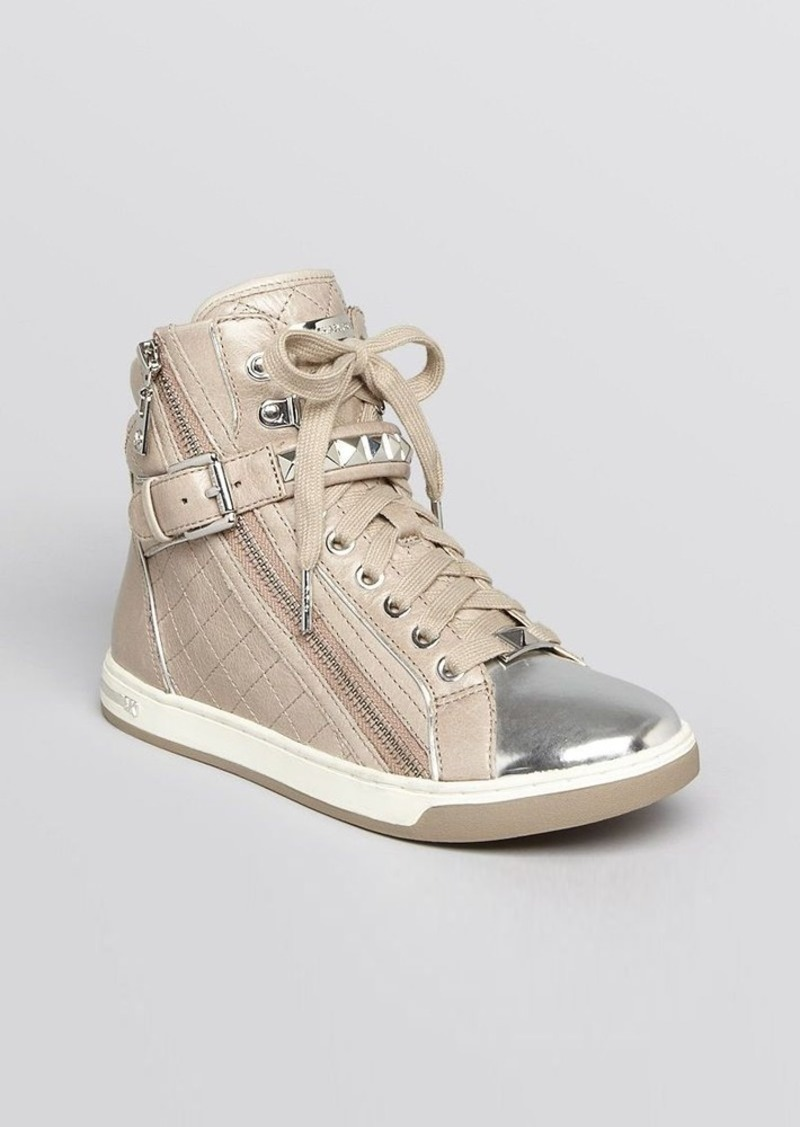 MICHAEL Michael Kors Lace Up High Top Sneakers - Glam Studded
