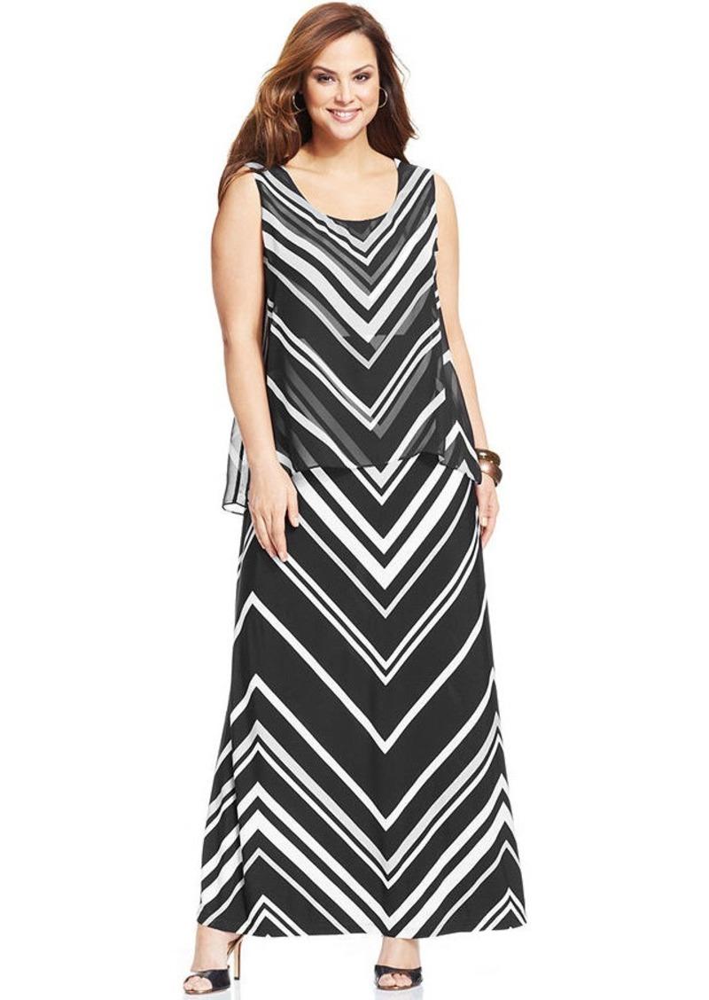 Alfani Plus Size Sleeveless Striped Maxi Dress