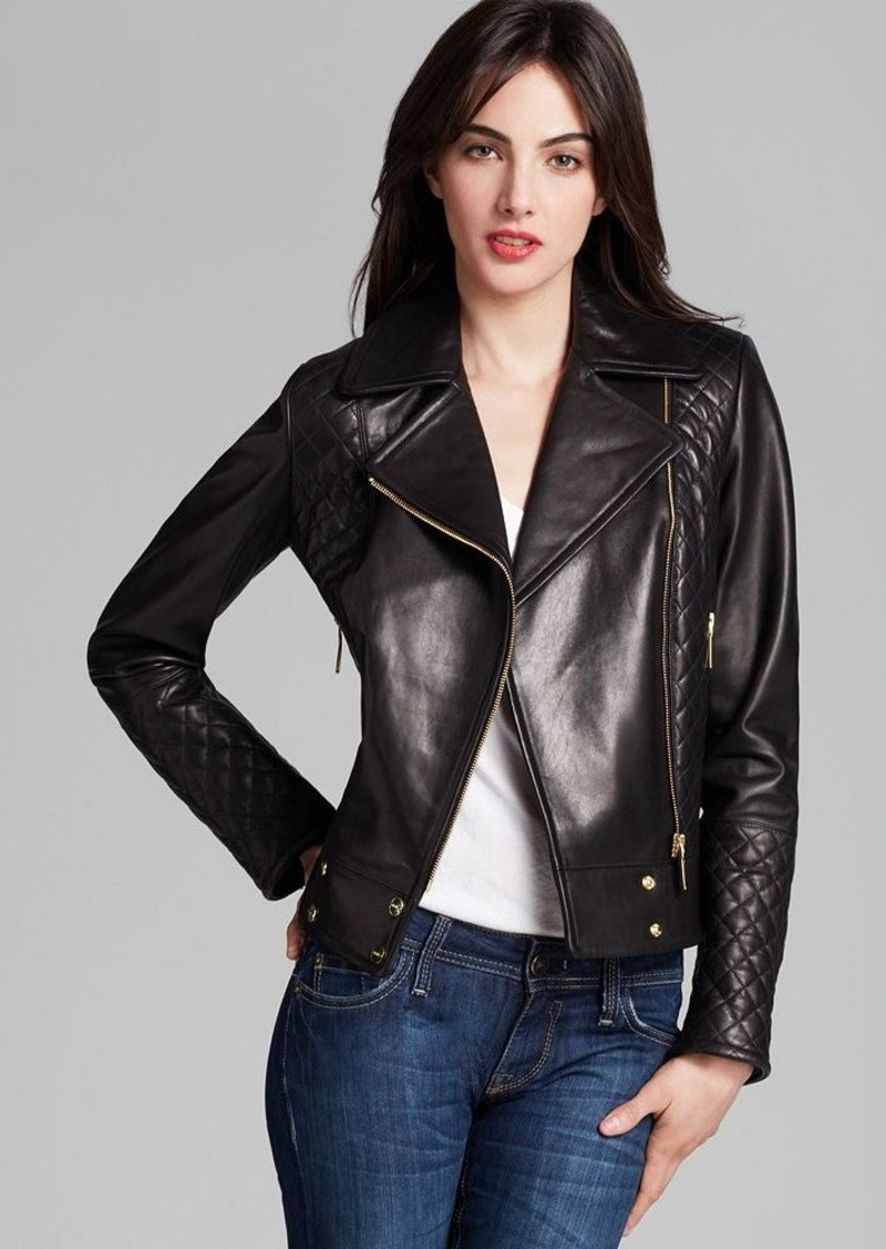 Calvin Klein Asymmetric Zip Quilted Leather Jacket