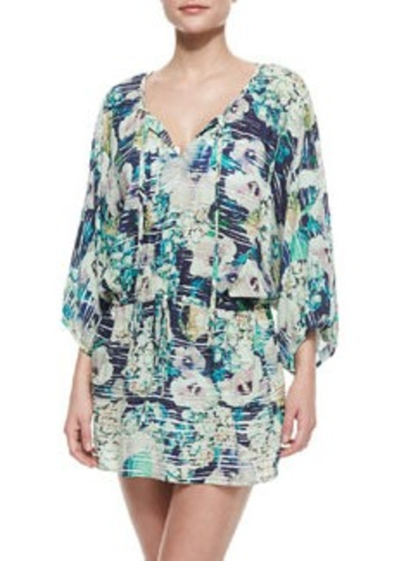 Nanette Lepore Hula Hibiscus Floral-Print Coverup Tunic