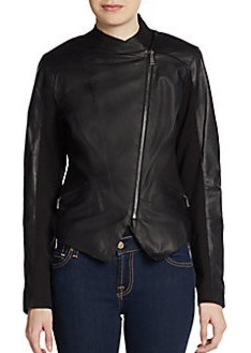 Elie Tahari Viola Asymmetric-Zip Leather Jacket