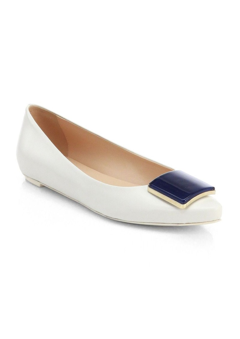 Tod's Leather Square-Detail Ballet Flats