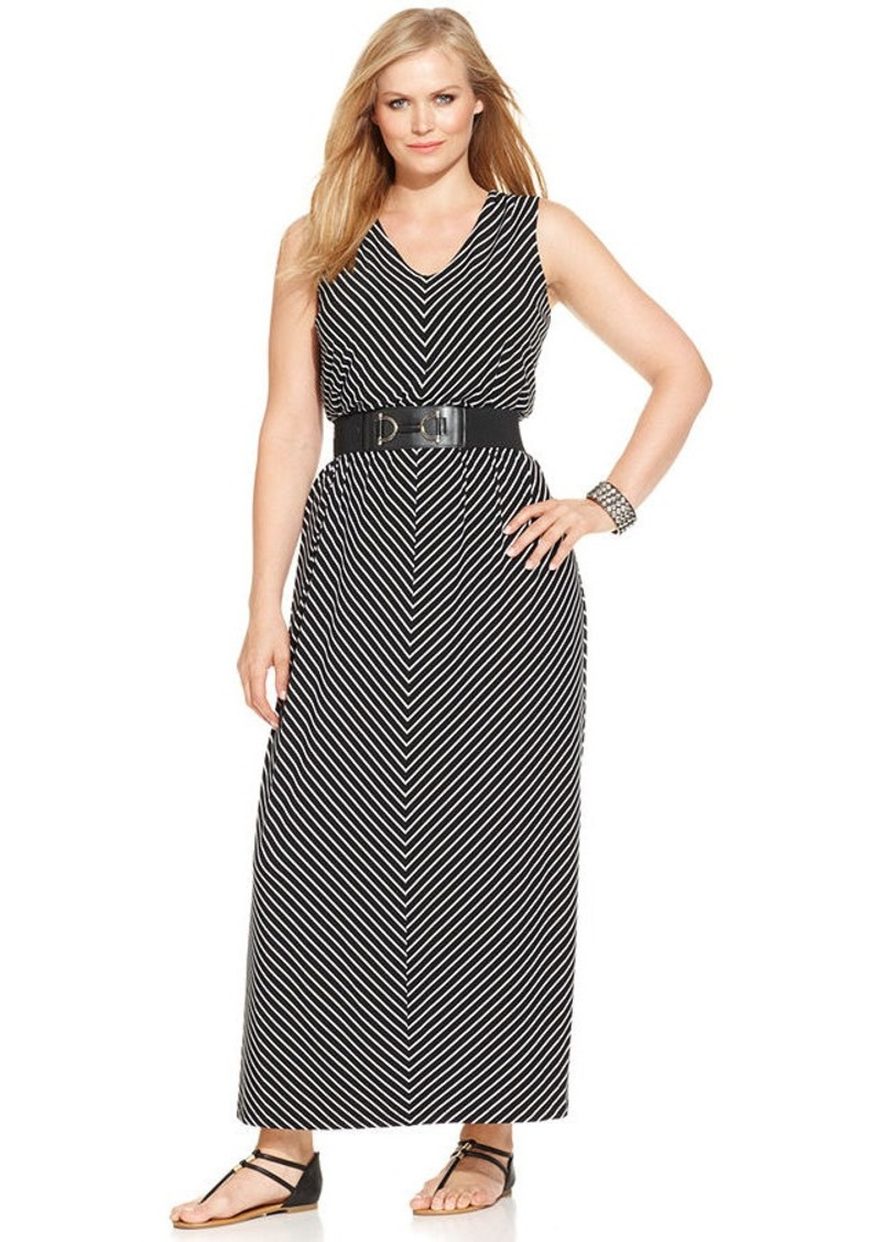 Alfani Plus Size Sleeveless Striped Belted Maxi Dress