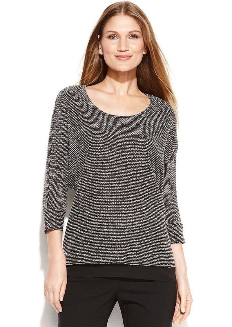 Alfani Three-Quarter-Sleeve Marled Sweater