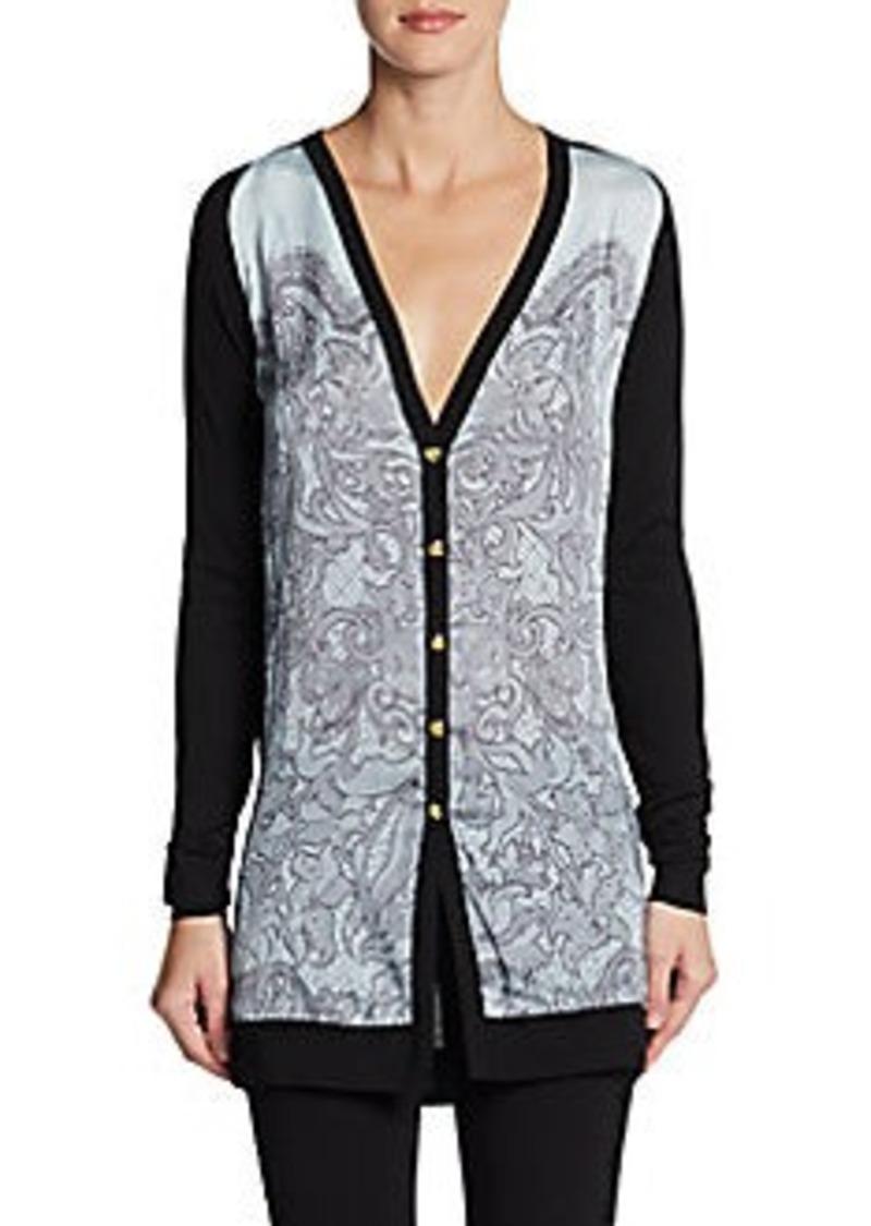 Emilio Pucci Silk Overlay Wool Sweater
