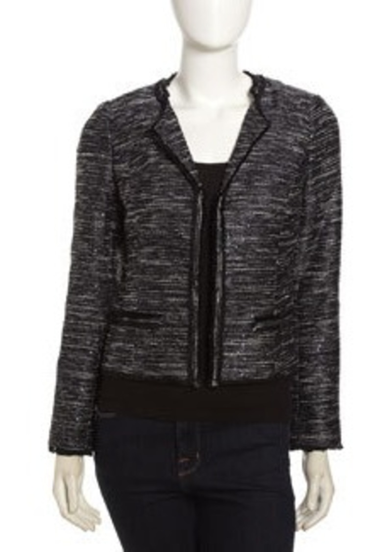 Laundry by Shelli Segal Sequin & Fringe Open-Front Jacket, Moody Blue