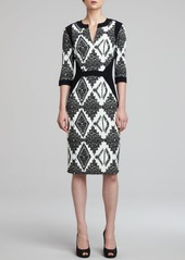 Etro 3/4-Sleeve Mixed-Print Cady Dress