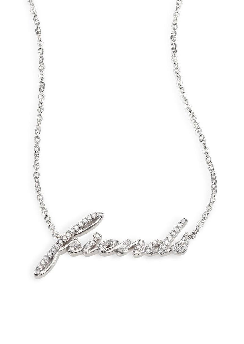 "Adriana Orsini Sterling Silver Pave ""Friends"" Pendant Necklace"