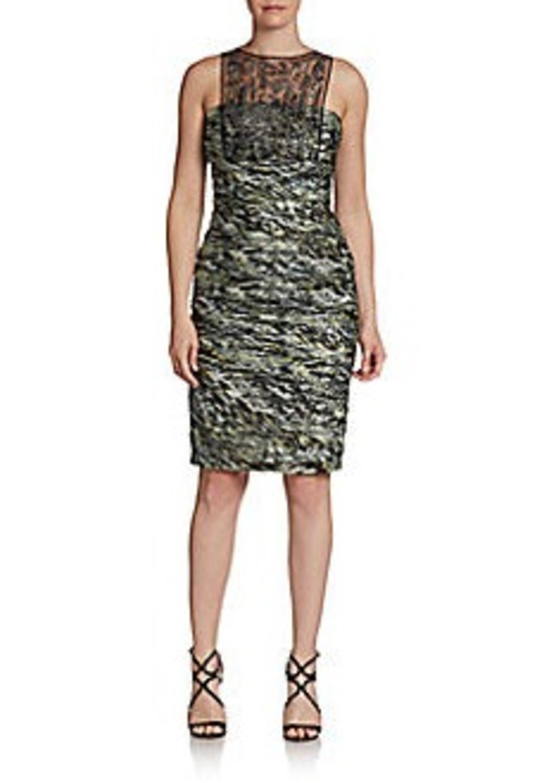 Carmen Marc Valvo Silk Beaded Illusion Cocktail Dress
