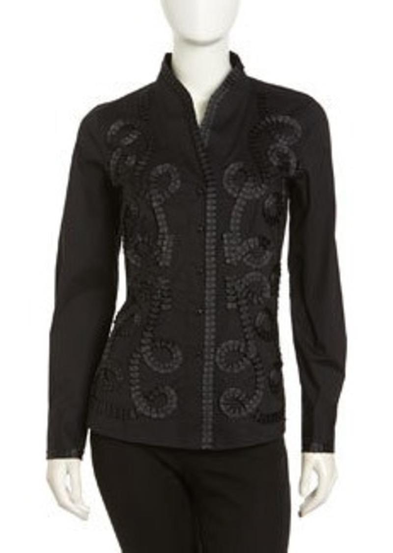 Go Silk Kimono Embellished Stretch Blouse, Black