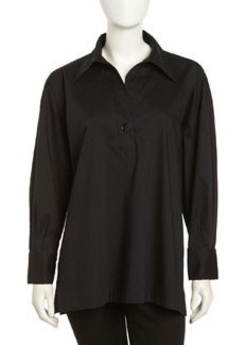 Go Silk Long-Sleeve Boxy Stretch Tunic, Black