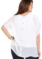 Alfani Plus Size Short-Sleeve Button-Back Top
