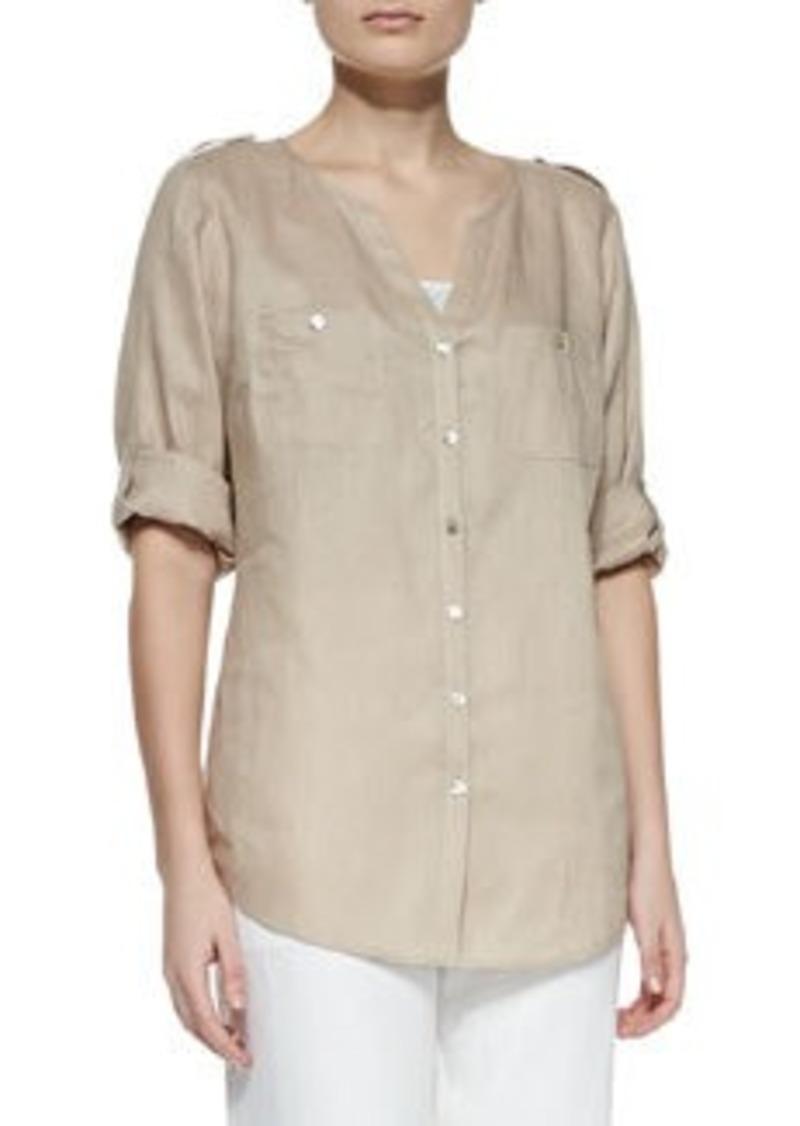 Go Silk Linen Button-Front Tunic