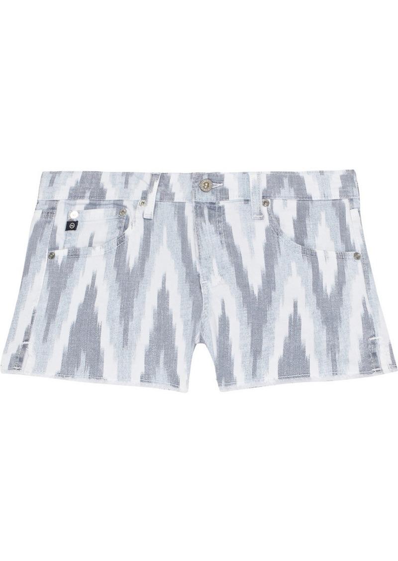 AG Adriano Goldschmied AG Jeans Daisy printed cut-off stretch-denim shorts