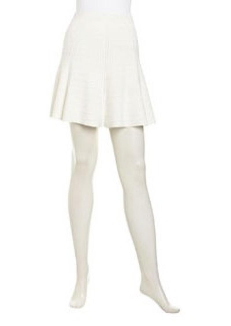 Catherine Malandrino Carina Ribbed Knit A-Line Skirt, Ivory
