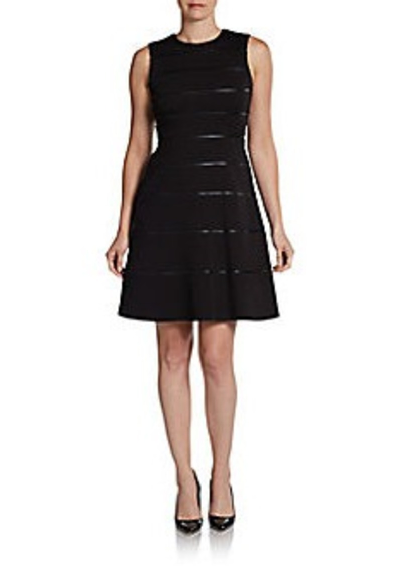 Calvin Klein Faux Leather-Trimmed Fit-And-Flare Dress