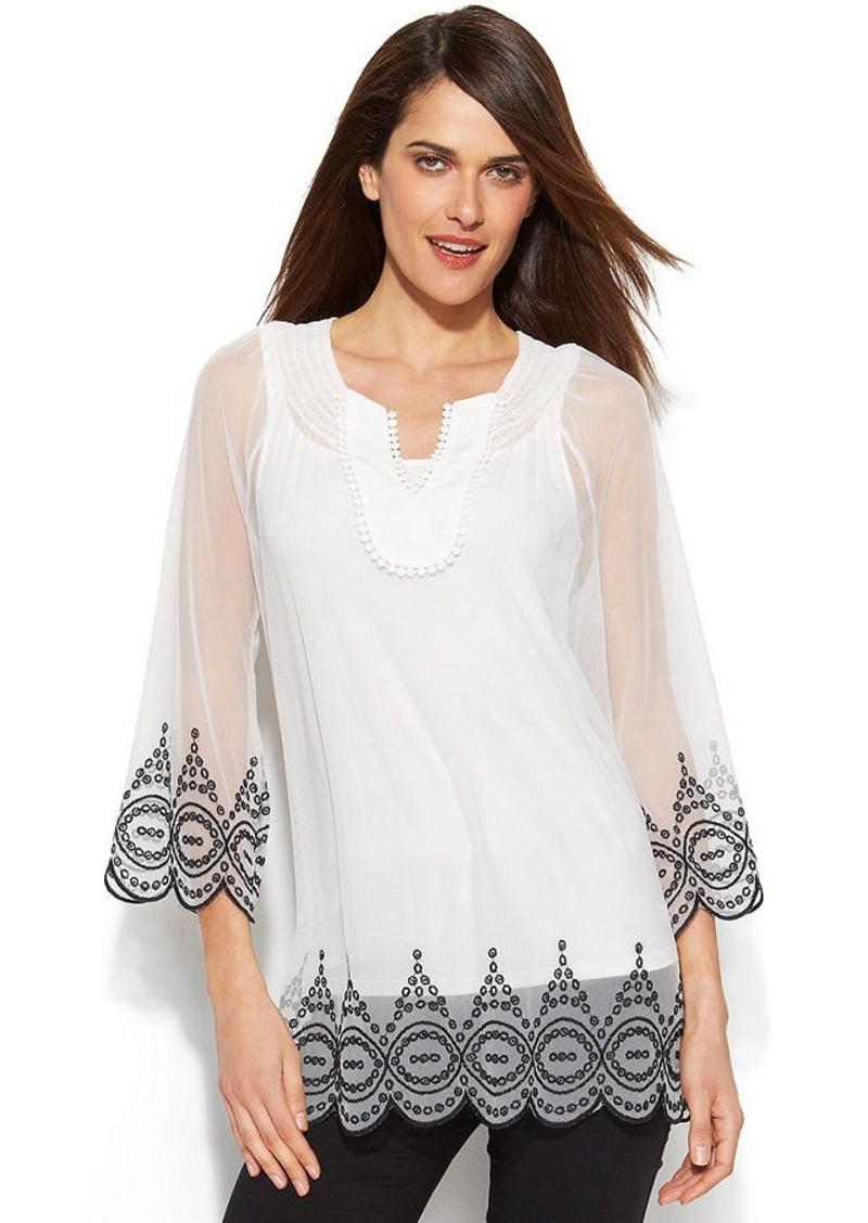 Alfani Embroidered Illusion Peasant Top