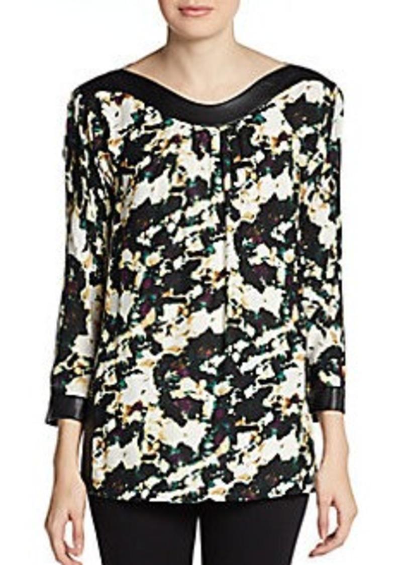Catherine Malandrino Amina Abstract Floral-Print Silk/Wool Blouse