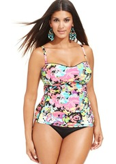 Kenneth Cole Reaction Plus Size Floral-Print Tankini Top