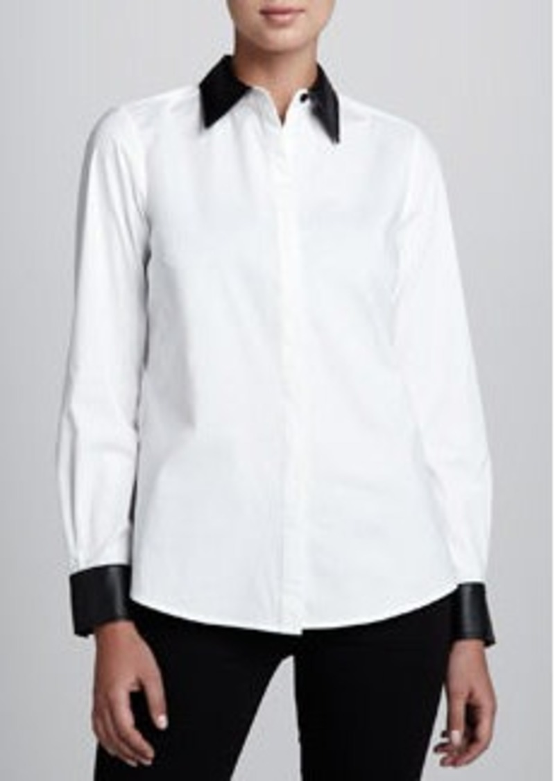 Go Silk Shirt with Faux-Leather Trim, Petite