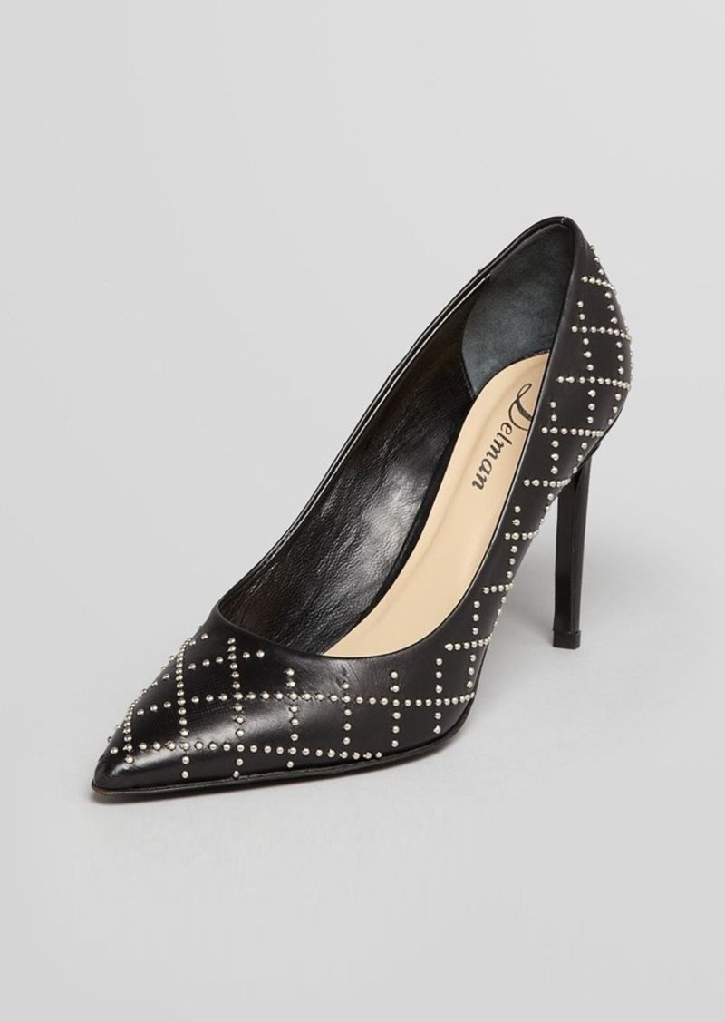 Delman Pointy Toe Pumps - Bobbi Studded