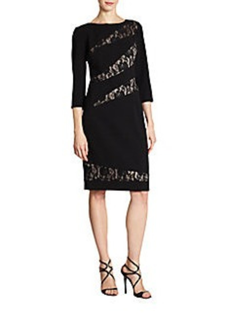 David Meister Lace-Panel Crepe Dress