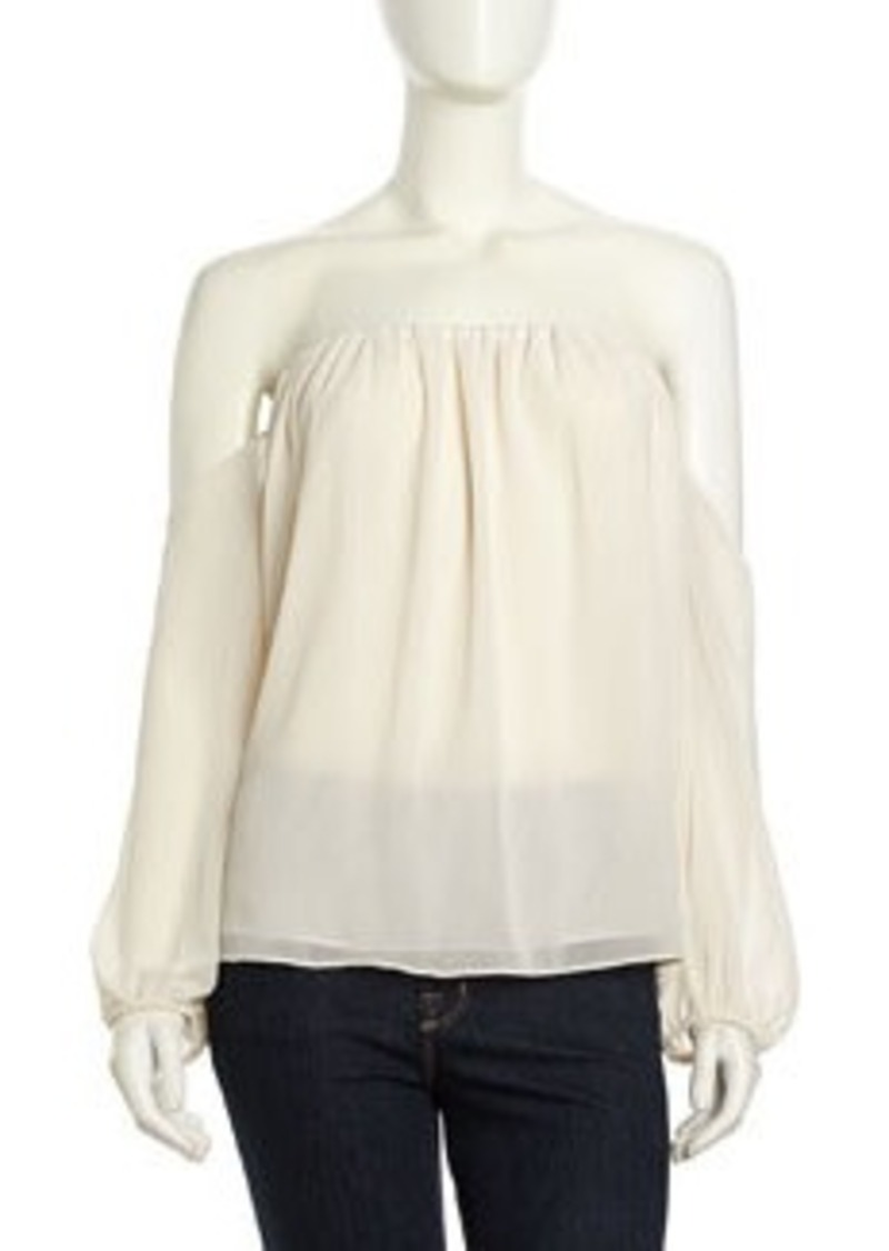 T-Bags T Bags Off-Shoulder Layered Crepe Top, Ivory