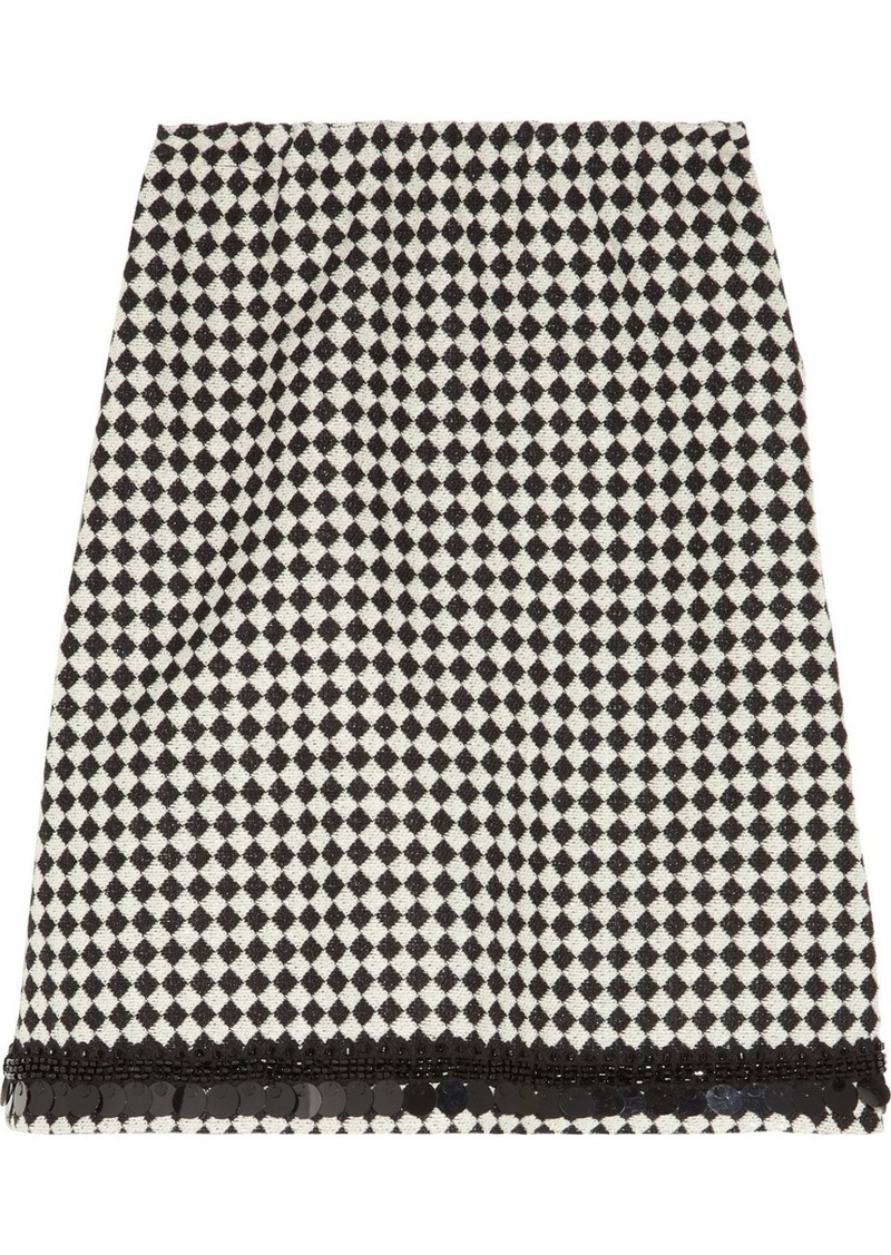Marni Embellished wool-blend jacquard skirt