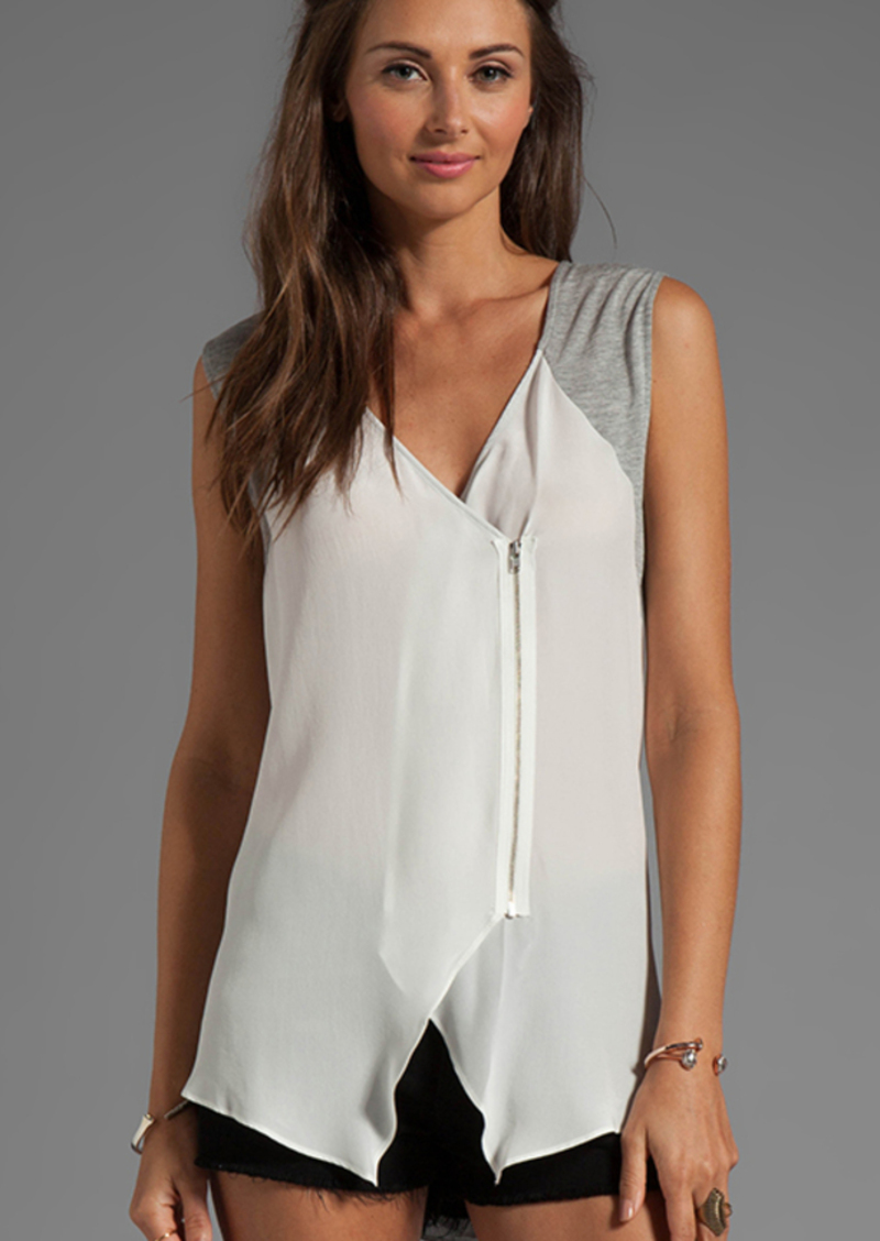 Tracy Reese Soft Solids Combo Blouse in White