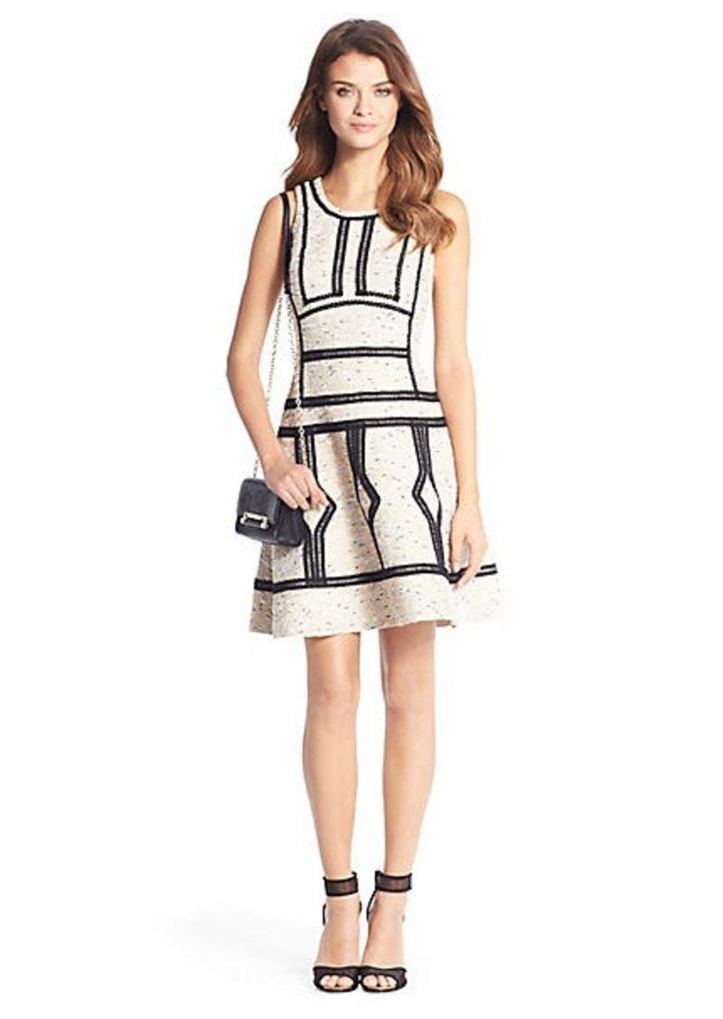 Diane Von Furstenberg Margot Trim Detail Tweed Dress
