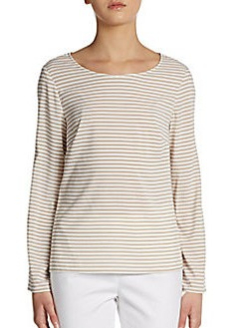 Calvin Klein Striped Roll-Tab Sleeve Pullover